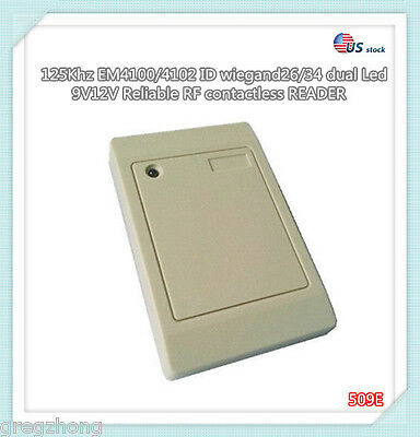 125Khz EM4100/4102 waterproof RFID WG26/34 dual Led Access Control Card READER