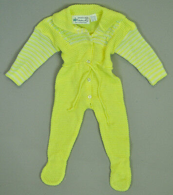 VTG hand woven Baby boy girl knit Yellow romper pajama sleeper NB 3M