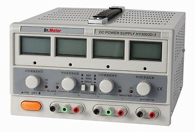 Dr.meter HY3003D-3 TRIPLE LINEAR DC POWER SUPPLY 30V 3A w backlit LCD display