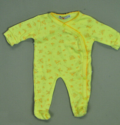 VINTAGE 80s 90s NB Romper infant baby boy yellow cross over baby doll sleeper