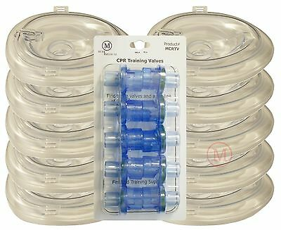 Lot 10 Deluxe ADULT Collapsible CPR Training Pocket Resuscitator Masks & Valves