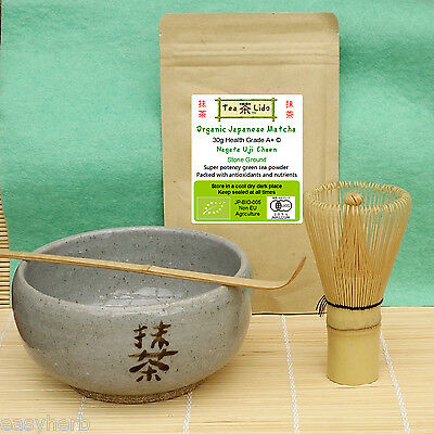 JAPANESE MATCHA Green Tea Set, Bowl Whisk Scoop Gift Organic Ceremonial Ceremony
