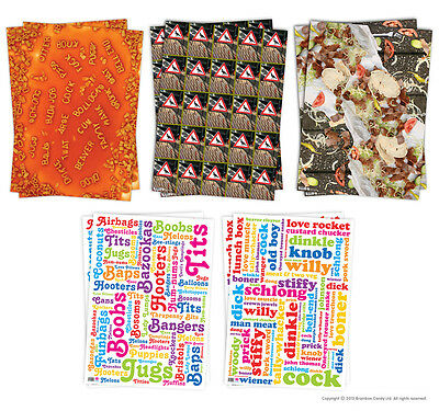 Brainbox Candy Wrapping Paper Gift Wrap 2 Sheets funny rude humour joke novelty