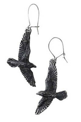 GENUINE Alchemy Gothic Earrings - Black Raven Pair | Ladies Fashion Jewellery