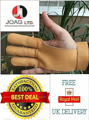 Archers Leather Shooting 3 Fingers Glove Beige-Archery, Bow Gloves,