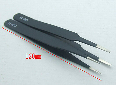 2PCS IC SMD SMT Jewelry Non-magnetic Stainless Steel Tweezers Craft Plier Tools