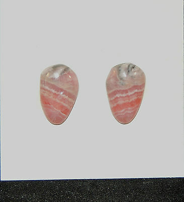 Pink Rhodochrosite Cabochons 14x9mm with 3mm Dome set of 2 (6919)