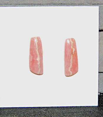 Pink Rhodochrosite Cabochons 16x6mm with 3mm Dome set of 2 (6918)