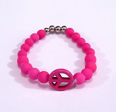 Bracelet Elastique Peace And Love Rose Perles