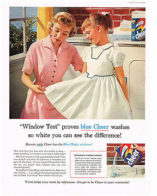 1956 ADVERTISEMENT CHEER LAUNDRY DETERGENT WITH BLUE-MAGIC WINDOW TEST