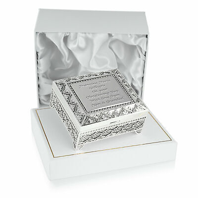 Girls Christening Gifts Engraved Girl's Silver Plated Trinket Box Gift for Girl