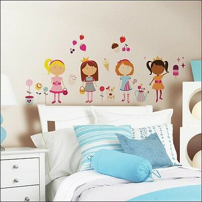 Girly Girls Removable Wall Stickers 76 Decals Girls Wall Art ~ NIP