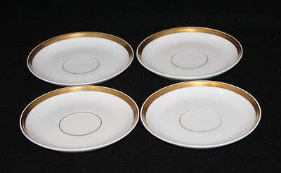 4 William Guerin & Co. Limoges France Gold Rim 5-1/4 Inch Saucers for Tea Cups
