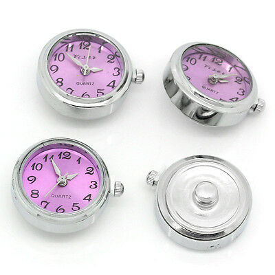 3 Watch Face Head Purple DIY Bracelet Band Snap Buttons Press Silver Tone Round