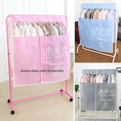 Beautiful No Dust Standing Hanger Cover Clothes Dress Shop Display Protector
