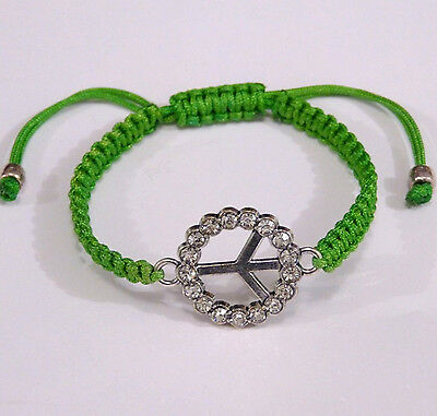 Bracelet Shamballa Peace And Love Strass Macrame Vert