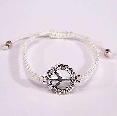 Bracelet Shamballa Peace And Love Strass Macrame Blanc