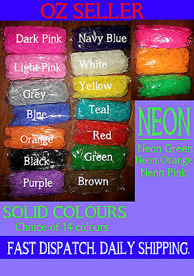 600  OR 1200 LOOM BANDS Rubber Refill Kit DIY Solid Colour NEON with S Clips New