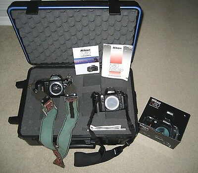 Nikon N80 & Nikon N4004 35mm SLR Film Camera Body Only + Strap In Case *Bundle*