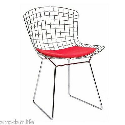 modern bertoia style side chair mid century modern design : red pad
