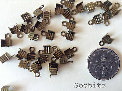 100 Antique Bronze Effect Cord Crimp End Findings Caps Tips with Loop - 7x5mm
