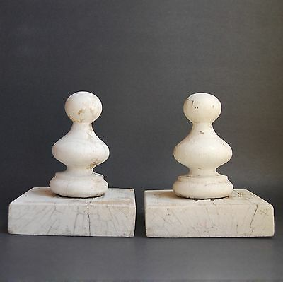 30% OFF - Vintage Pair White Wood Finials, Architectural Salvage