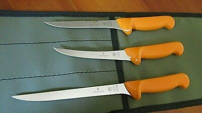 Swibo 3 Knife Fish Boat Set  Swiss Hard Stainless  With Heavy Aussie Canvas Wrap