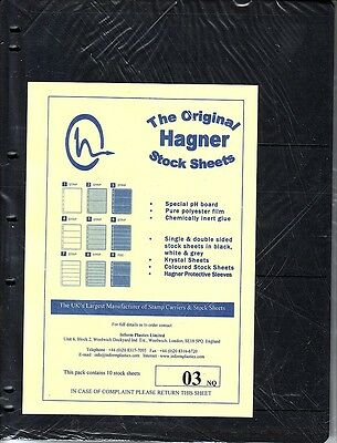 Hagner Original Stock Sheets Pack Of 10  3 Rows  Single Side