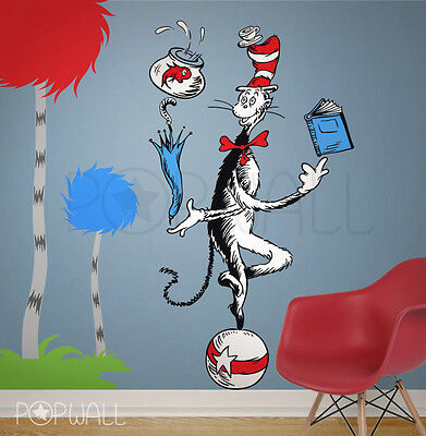 Children Wall Decal Wall Sticker Dr seuss Character the Cat in the Hat on ball