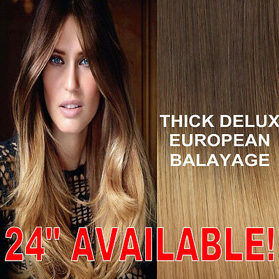 Thick Dip Dye 4/27 Balayage Ombre Clip In Remy Human Hair Extensions Blonde