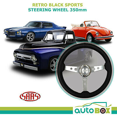 SAAS RETRO BLACK SPORTS STEERING WHEEL 350mm Classic