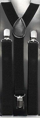 1Pc or Wholesale Lot 6Pc Boys Suspenders In Black Size:1-7 or 8-20 (#ESUS-KBL)