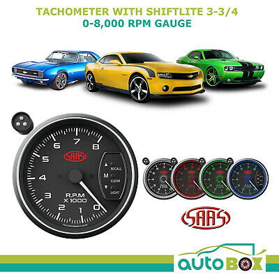 "SAAS 3.75"" TACHOMETER with SHIFT LIGHT BLACK FACE 95mm 3 3/4 Performance Tacho"