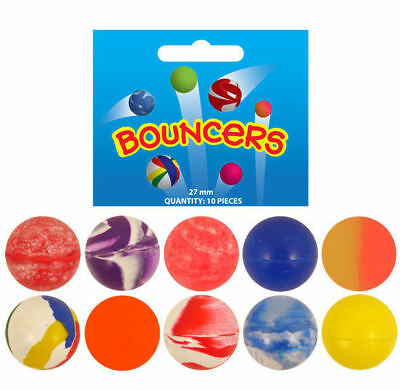 10 Bouncy Balls 27mm - Jet Pinata Toy Loot/Party Bag Fillers Wedding/Kids