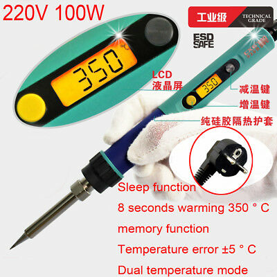 220V 100W Sleep function LCD soldering iron Adjustable Temperature Digital light