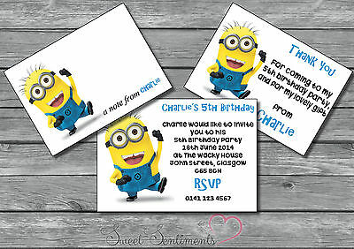 Despicable Me Minions Personalised Birthday Party Invite Thank You