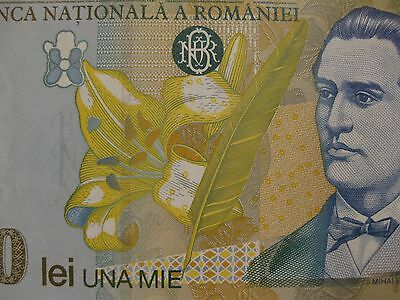 """Romania 1000 Lei Banknote  """"FLOWERS""""  1998 unc note  very nice paper money"""