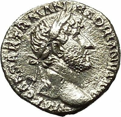 Hadrian Bisexual Emperor 123AD Silver Ancient Roman Coin ROMA with Nike  i39823