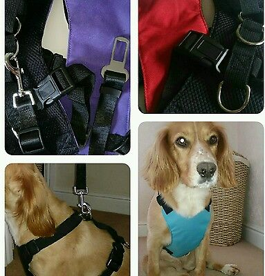 Pet Car Travel Safety Harness & Strong Adjustable Seat Belt Lead Sizes S M & L