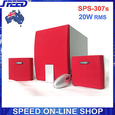 SPEED SPS-307s Red / Silver 2.1 Speaker System for Desktop PC, MP3, iPad, iPhone