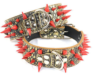 New Leather Large Breed Dog Red Spiked & Studded Collar Gold Brown M L