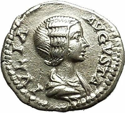 JULIA DOMNA 199AD Rare Ancient Silver Roman Coin Pietas Loyalty Cult i39832