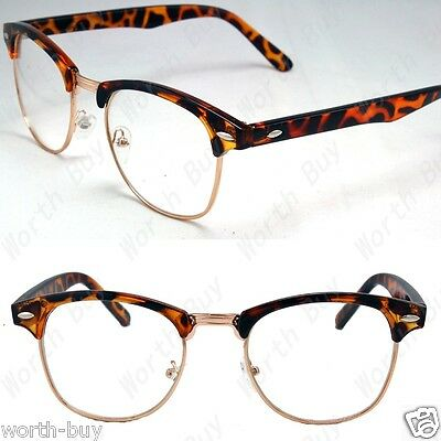28b5ad90cd Clear Lens Fashion Glasses Retro Horn Rim Nerd Men Women Demi Frame  Clubmaster
