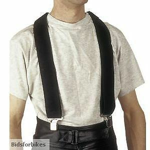ONE PAIR BLACK MOTORCYCLE BRACES FOR TROUSERS /LEATHERS