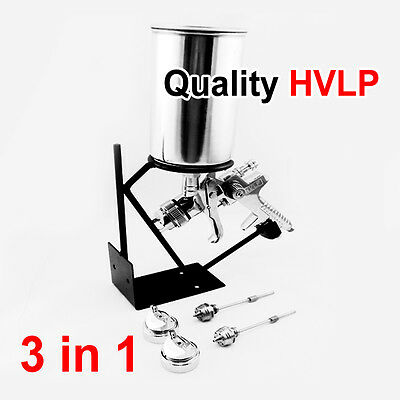 3 in 1 GRAVITY FEED HVLP PAINT SPRAY GUN 3 NOZZLES + Stand Holder +  Air Fitting