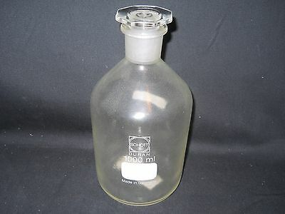 Schott Duran 1000mL 1L Plastic-Coated Glass Reagent Bottle with 29/32 Stopper
