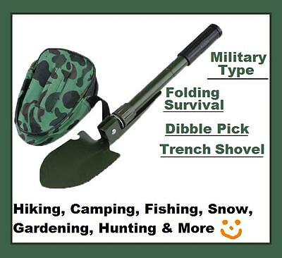 Military Type Folding Survival Dibble Pick Trench Shovel Camping Hiking New