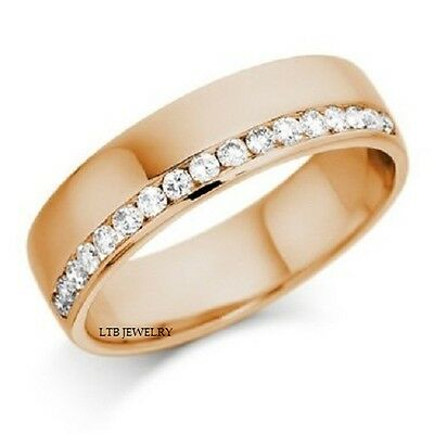 10K Solid Rose Gold Mens Diamond Wedding Bands Rings Shiny Finish 6Mm