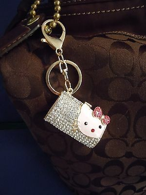 Fabulous Hello Kitty Rhinestone And Medal Alloy Handbag Charm And Or Key Chain.