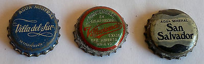 LOT OF 3 OLD  MINERAL WATER  BOTTLE CROWN CAPS ARGENTINA
